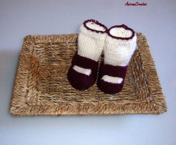 Hand knitted cashmere/merino baby girl pram shoe by AniramCreates, £18.00