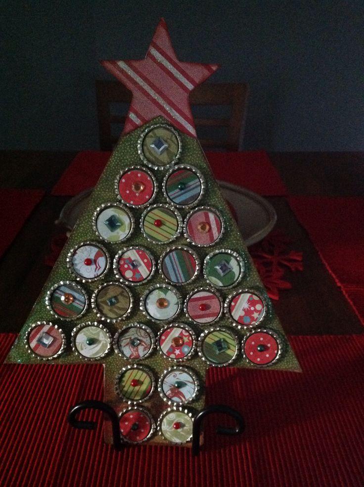 Bottle cap chipboard Christmas card