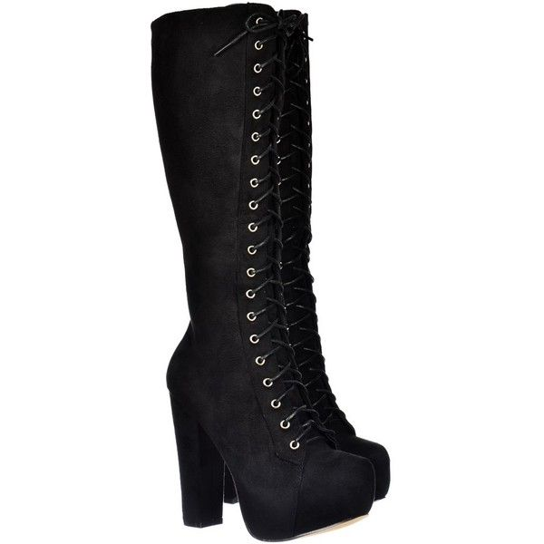 ... ❤ liked on Polyvore featuring shoes, boots, black knee-high boots, lace up platform boots, black suede knee high boots, black combat boots and black military boots