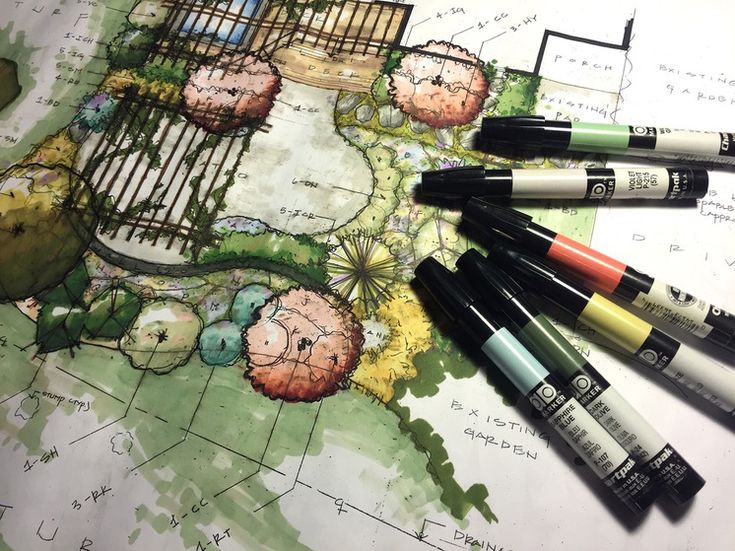 Tools: Chartpak ad markers Product: Colorful, vibrant landscape drawings