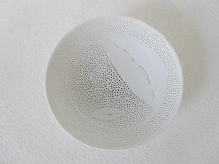 Megan Puls     Pierced + etched dish     Porcelain     19 x 5 cm