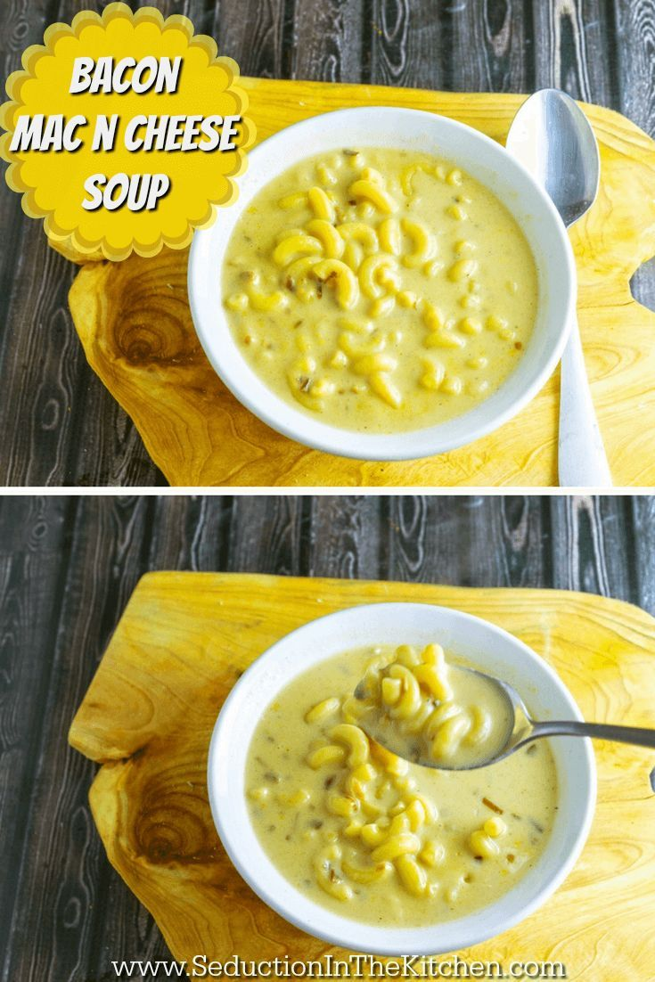 Bacon Mac n Cheese Soup is a soup version of the ultimate comfort food, mac n cheese. Adding bacon to it brings it to a new level of taste excitement. A recipe from @SeductionRecipe