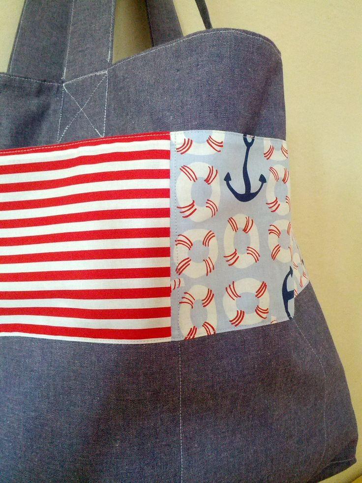 Beach bag cotton canvas featuring Blend & Michael Miller fabrics