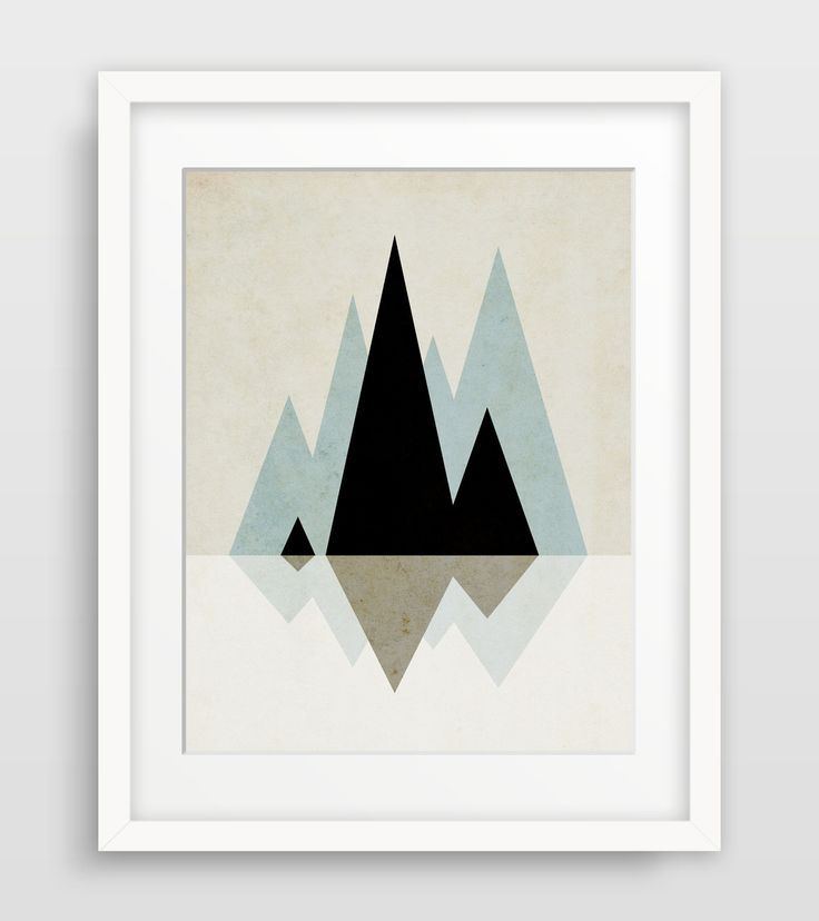 Modern mountains geometric art in soft neutrals. This minimal art print will make a beautiful statement in your home or office! PRINTS • 1/4 inch white border included in size • Printed on 100% cotton