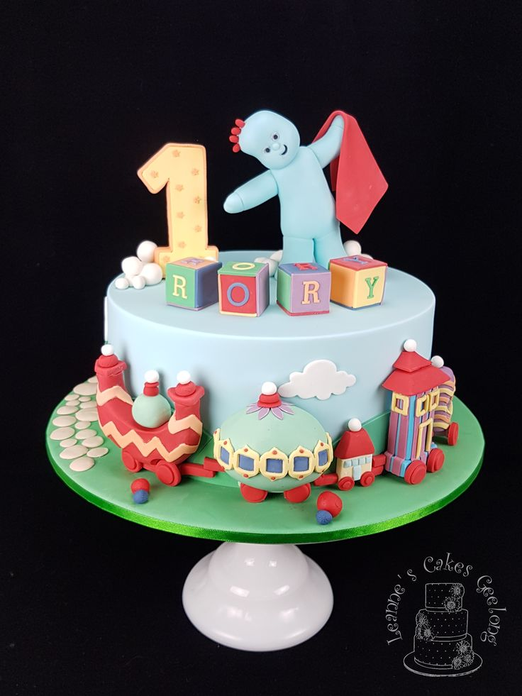 """In the Night Garden cake: This popular design of Iggle Piggle and Ninky Nonk from """"In the Night Garden"""" was a fun challenge to make. This is a 10"""" vanilla buttercake with Swiss meringue buttercream filling and covered in fondant. All decorations are hand made from fondant. www.facebook.com/cakesbyleannerhodes"""
