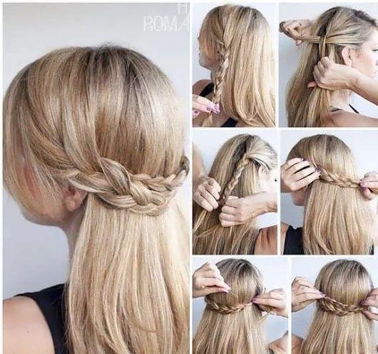 ❤ Подхват из кос ❤  Подойдёт для прямых и волнистых волос длиной до плеч и ниже.  🌟Расчешите волосы. 🌟Отделите у висков две тонкие длинные пряди. 🌟Ра... - Елена Сергиенко - Google+
