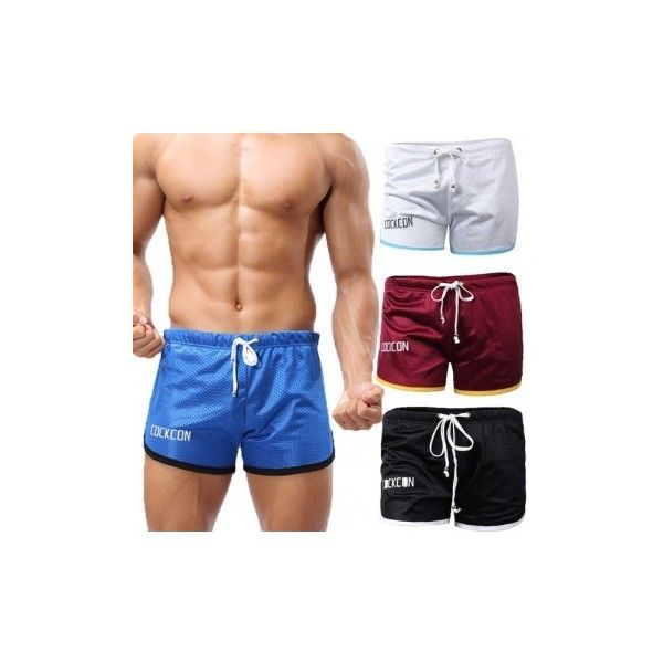 Men's Exercise Sports Shorts Gym Breathable Mesh Wicking Drawstring... ($5.94) ❤ liked on Polyvore featuring men's fashion, men's clothing, men's activewear, men's activewear shorts, pants & shorts, wine red, mens activewear and mens activewear shorts