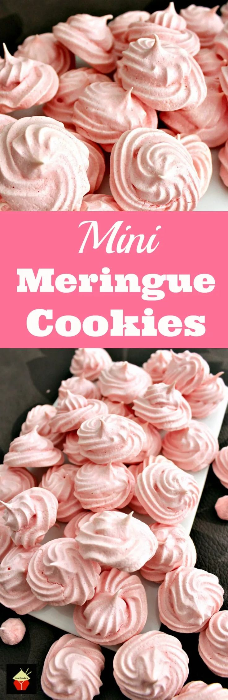 Mini Meringue Cookies! These are a wonderful sweet treat made up of just 2 ingredients. Incredibly easy to make and are perfect for adding to desserts or eating just as they are. Christmas Collection | Lovefoodies.com