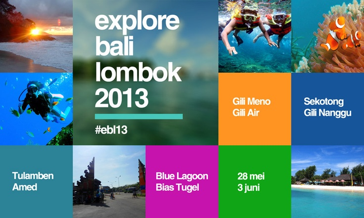 Explore Bali Lombok 2013 banner design.