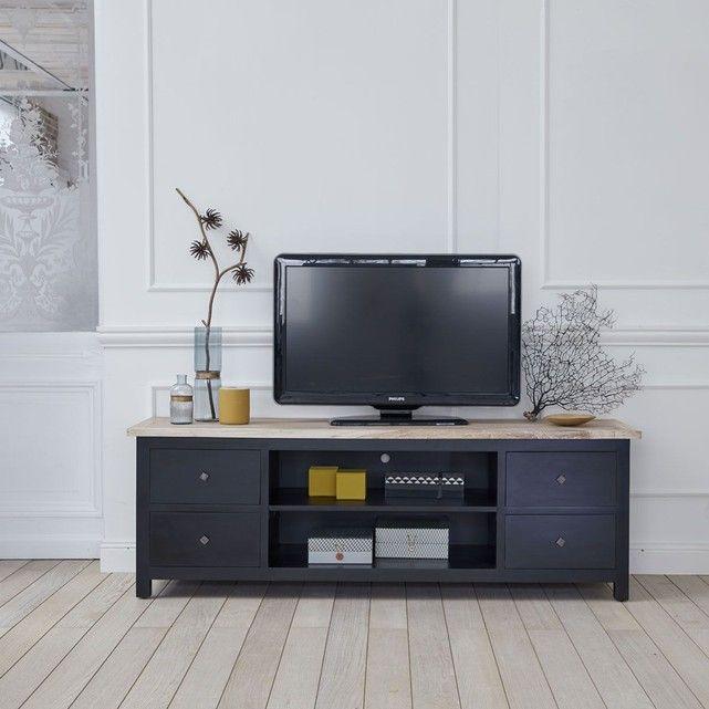 Meuble TV en bois d'acajou et teck - Largeur 180 cm - 4 tiroirs - Coloris Noir - LONDRES BOIS DESSUS BOIS DESSOUS