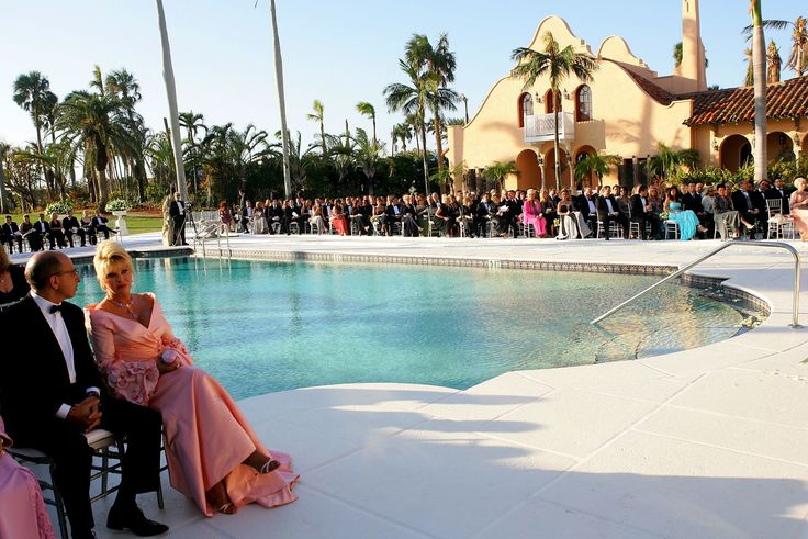 PALM BEACH, FL - NOVEMER 12:  (MINIMUM PRICING APPLIES, PLEASE CONTACT YOUR ACCOUNT EXECUTIVE)  Ivana Trump and guests attend the wedding ceremony of Donald Trump Jr. and Vanessa Haydon at the Mar-a-Lago Club November 12, 2005 in Palm Beach, Florida. (Photo by Evan Agostini/Getty Images) via @AOL_Lifestyle Read more: https://www.aol.com/article/news/2017/02/01/trump-winter-white-house-palm-beach-mar-a-lago/21704935/?a_dgi=aolshare_pinterest#fullscreen