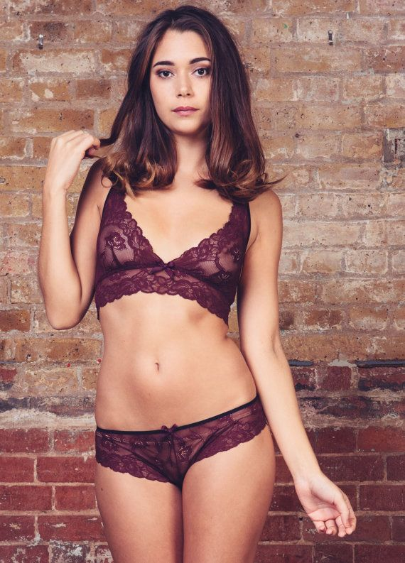 db34cc3a8d Lilith Burgundy Lace Bralette   Brief Lingerie set - Lingerie   Underwear  Made to Order on Etsy