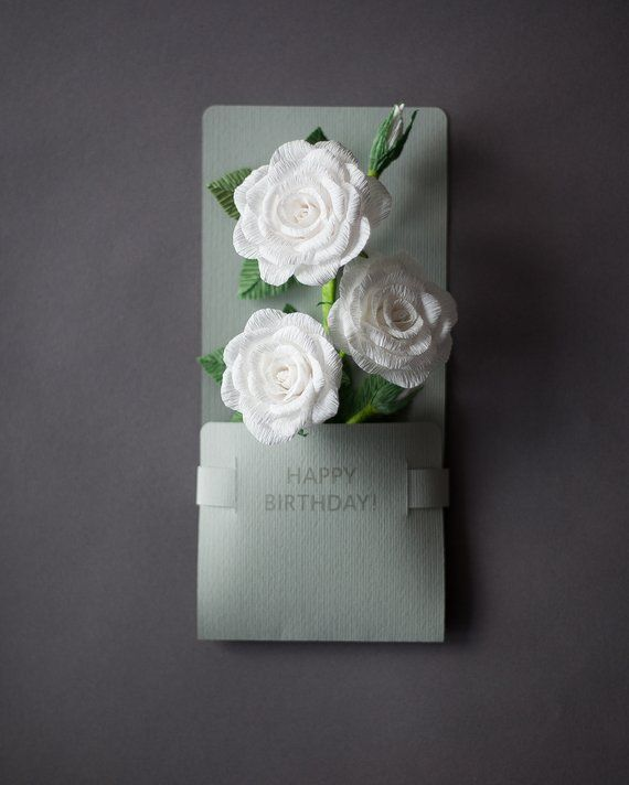 Happy Birthday Cards For Sister White Flowers Paper Roses