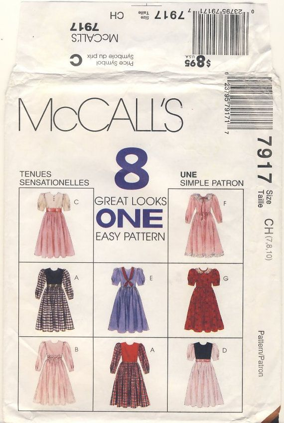 McCalls 7917  Child's Classic Dress multi Size by susanbeingsnippy