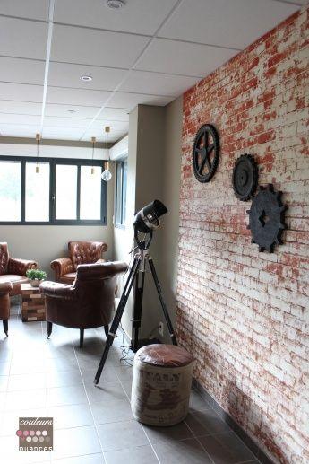 effet briques papier peint brique industrielle fauteuil dcoration industrielle peint effet peint trompe cole mur oeil papier chambre new - Papier Peint Industriel Chambre