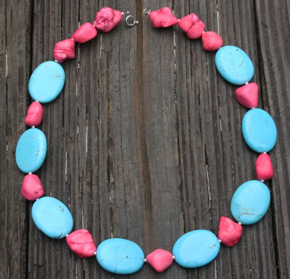 TURQUOISE Necklace stone blue silver pink pastel by Blitzrider, $35.99Teal Birthday, Turquoise Necklace