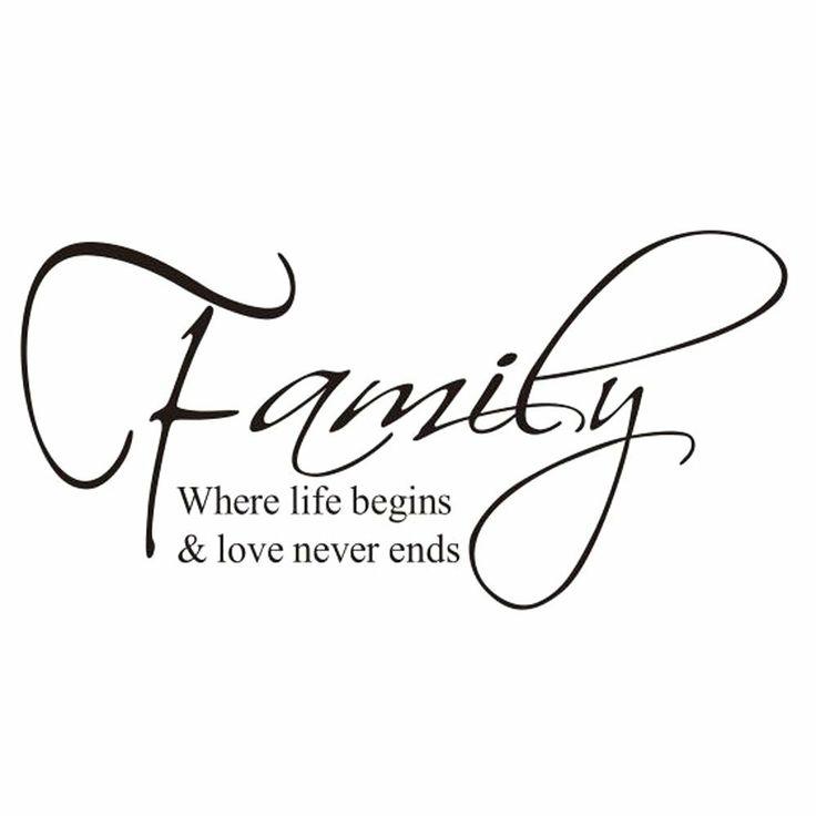 """Restly """"Famille, ošŽ la vie commence et l'amour ne se termine jamais."""" Anglais Proverbes Stickers Muraux DšŠcor Salon Stickers Muraux DšŠcor..."""
