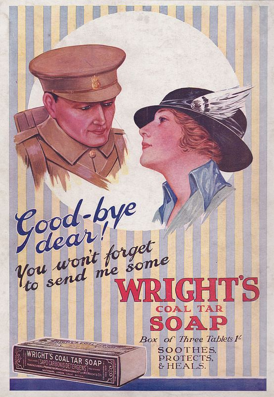 """""""Good bye dear..."""" - advert issued by Wright's Coal Tar Soap, in """"Colour Magazine"""", December 1915 -"""