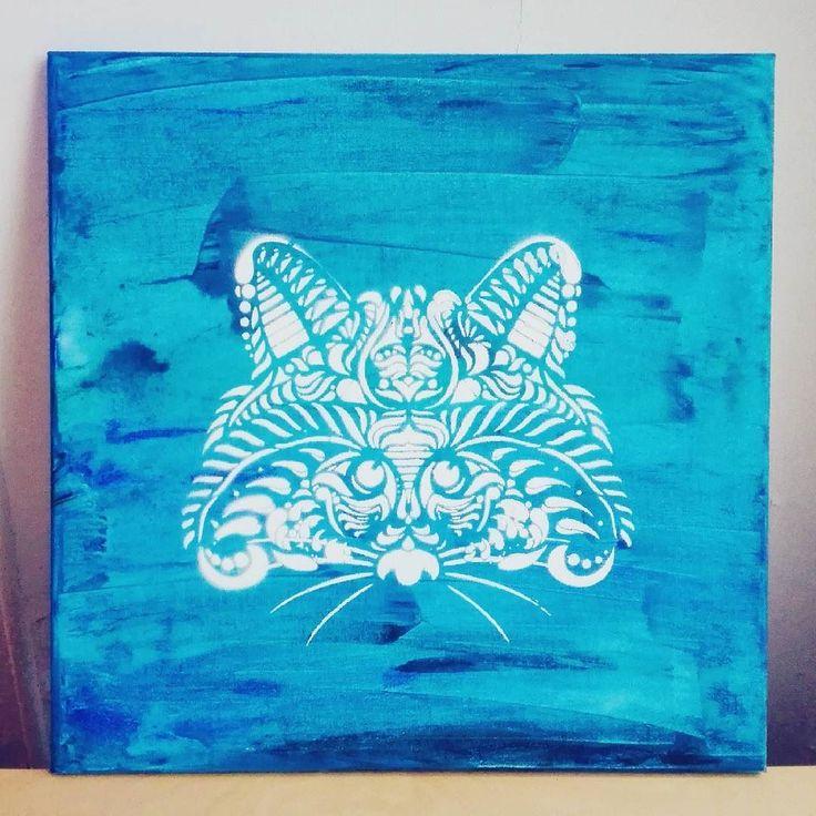 And there it is  I've finished the #artwork for my father's birthday  The #raccoon is a #stencil I've made last year with my own vector drawing. Basically it was for creates t-shirts but for the fort time I use it on a #painting ! Pretty glad of the result :) ------- Et voilà  j'ai fini la #toile pour l'anniversaire de mon père  Le #ratonlaveur est fait avec un #pochoir que j'avais fait l'année dernière à partir de l'un de mes dessins vectoriels. À la base c'était pour créer des t-shirts…
