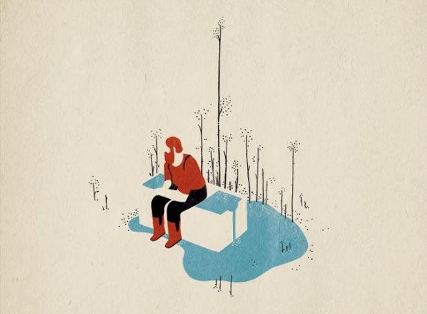 Tom Haugomat,un ilustrador francés nacido en 1985 en París,  ilustra personajes sin rostro en entornos minimalistas