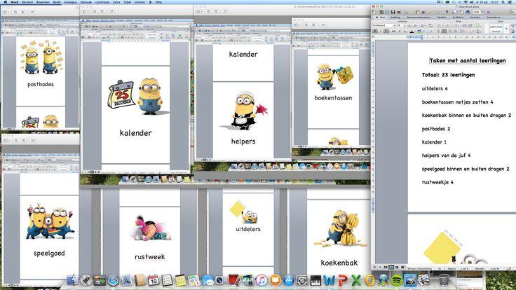 Kaarten voor takenbord gemaakt van de Minions!