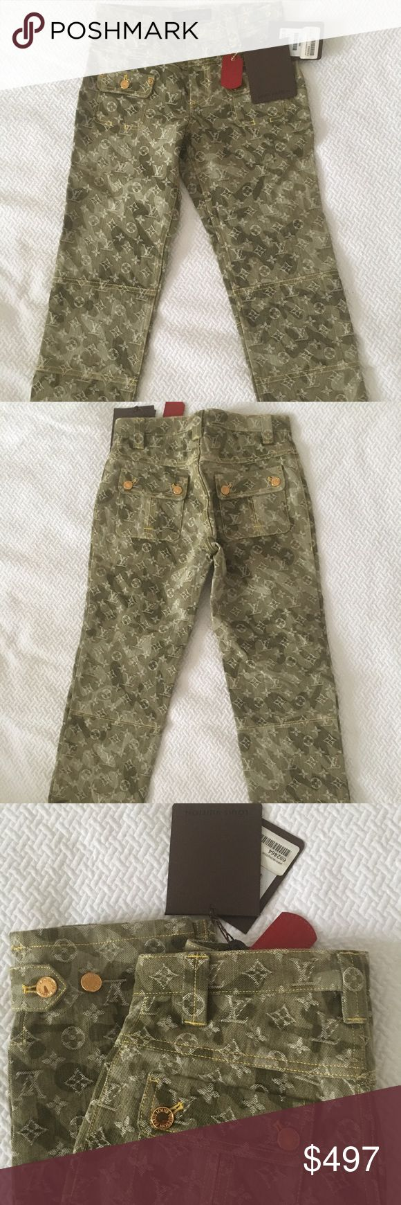 LOUIS VUITTON olive green monogram denim capri—NWT BRAND NEW—LOUIS VUITTON monogram Capri in olive green denim. Never worn, with tags! AMAZING DEAL—and amazing for summer. 😉 💯 authentic and in 💎 NEW condition. They are a Euro size 36 so fit a US size 2. Louis Vuitton Jeans Ankle & Cropped
