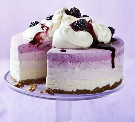 Blackberry & apple frozen yogurt cake. Layers of frozen yogurt are given a crunchy contrast with an oaty biscuit base in this impressive pud - a great alternative to cheesecake