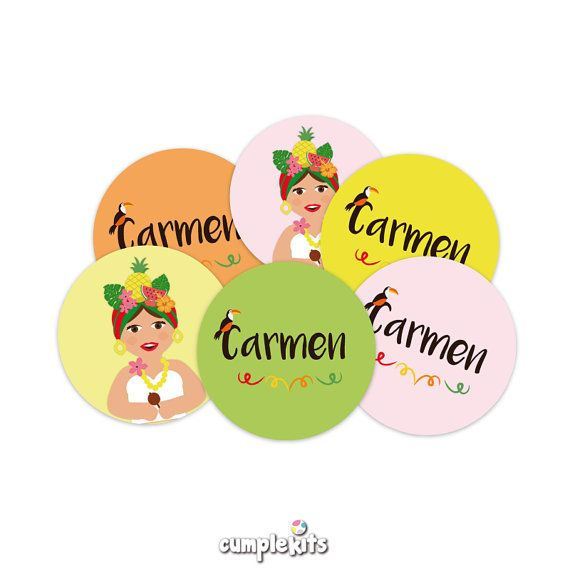 Tropical fruit wrappers and toppers. Personalized. por CumpleKits