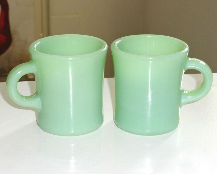 Green Milk Glass Coffee Mugs
