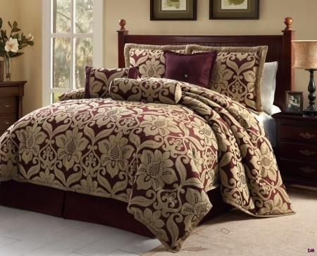 7 pc queen galloway burgundy gold jacquard floral print for Burgundy and gold bedroom designs