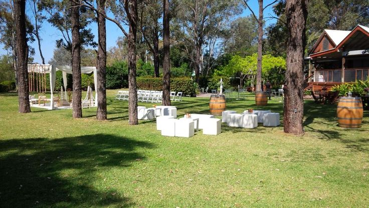 CJ & Arv's beautiful #outdoor #wedding #ceremony @TamburlaineWine #white #ottomans