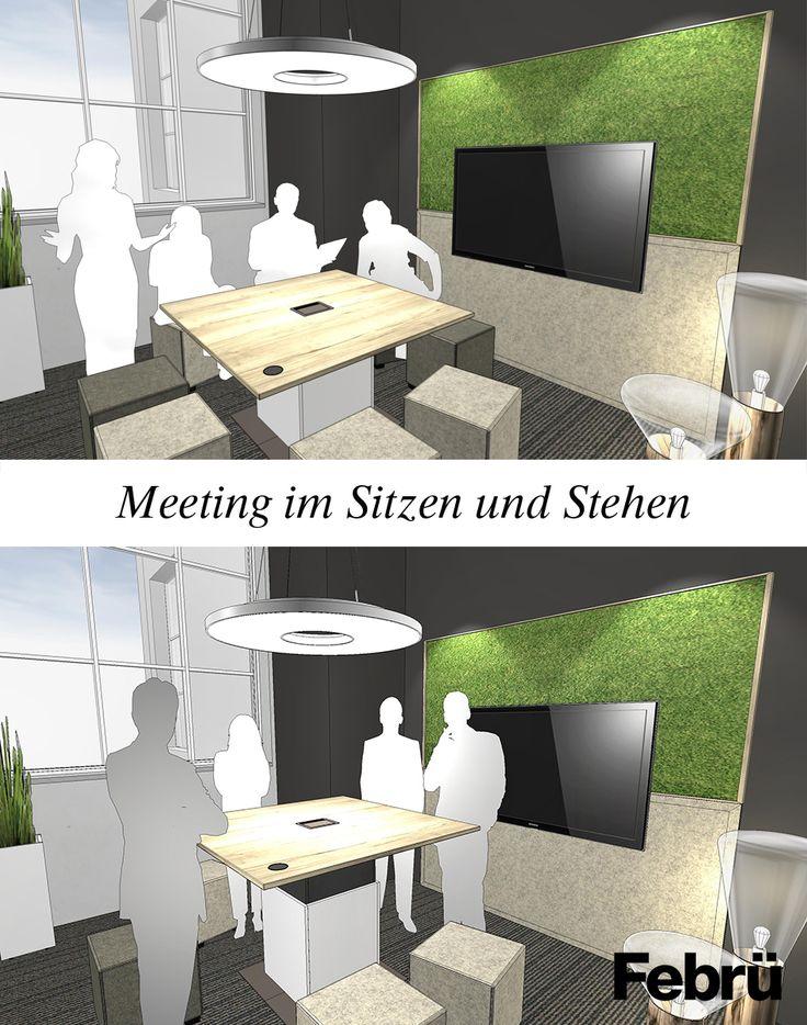 Konferenzraum – der elektromotorisch höhenverstellbare Konferenztisch Cube von Febrü ermöglicht Meetings im Sitzen und Stehen.