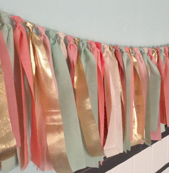 Multicolored Springtime Hand dyed Fabric rag garland in mint seafoam green, coral peach, pink blush and gold via Etsy