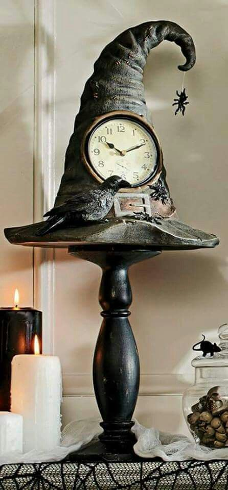 Clock Witch Hat Pedestal Mantel Halloween Decor Raven Black Bird Spider Web Prop