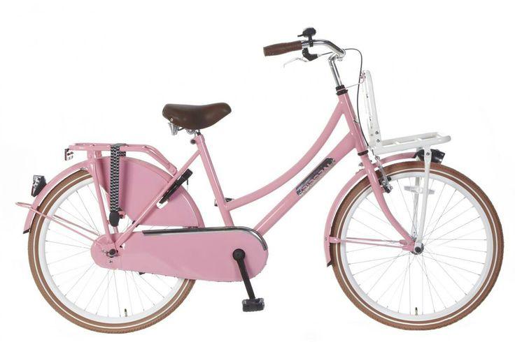 De roze meisjes fiets waarop Daniel langs het strand op fietste.
