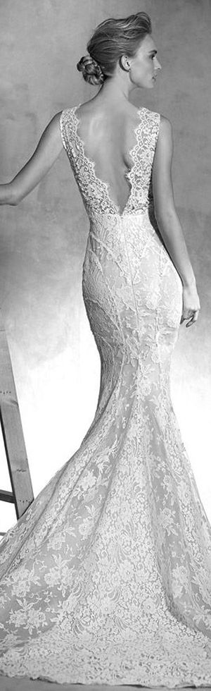 lace strap mermaid wedding dress