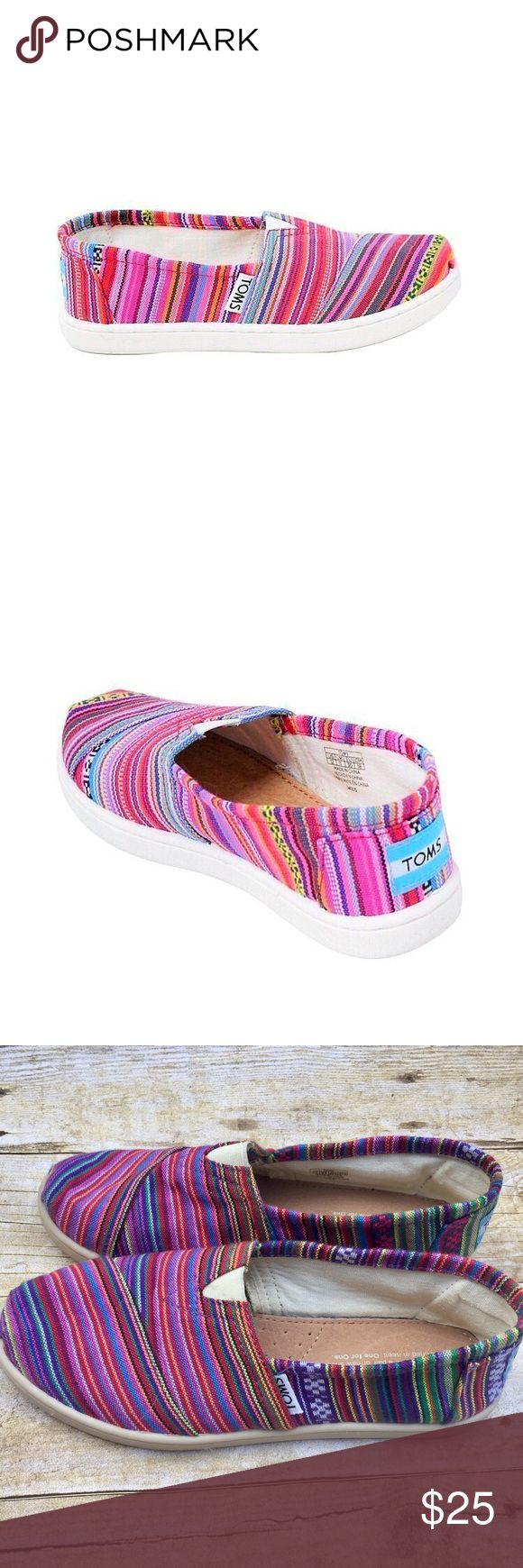 TOMS Rainbow shoes Brighten up your little ones day with these rainbow woven slip-ons.  In like new condition. Only worn once, no tears, stains, or marks. TOMS Shoes