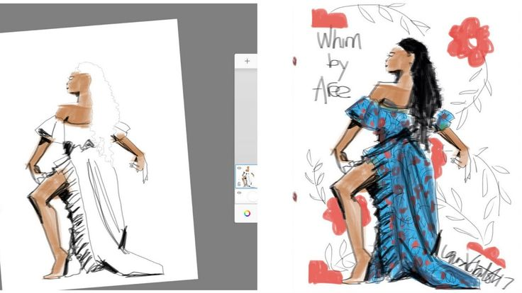 TIme Lapse Fashion Sketching w/ Markers w/ Autodesk Sketchbook App (2 of 2) Rendering Print, Shading - YouTube