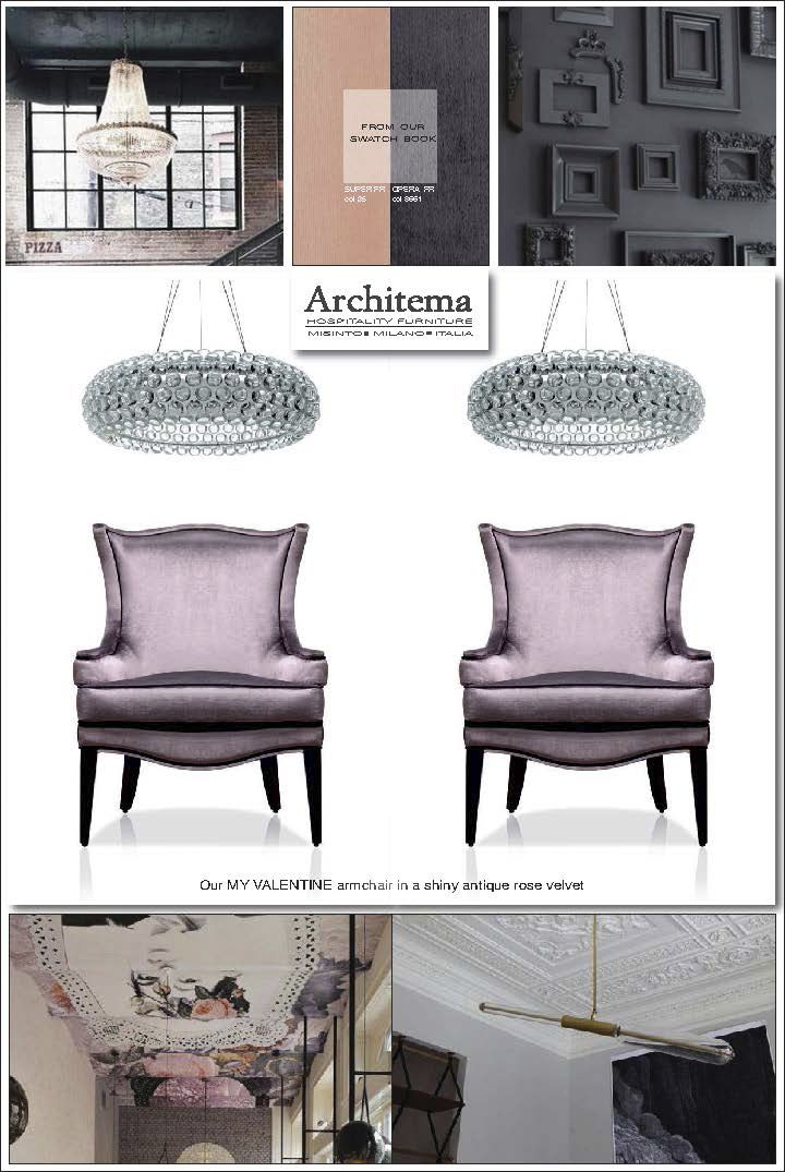ARCHITEMA HOSPITALITY FURNITURE - our MY VALENTINE armchair in a shiny antique rose velvet
