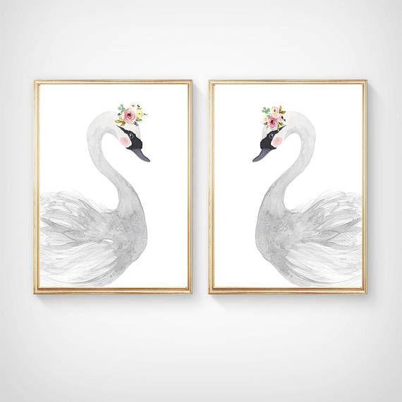 Watercolor swan set Nursery Print set  Nursery Art  Nursery
