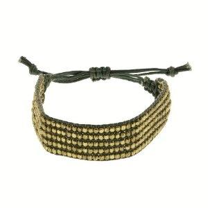 Bracelet corde grise et perles dorées - Bijou fantaisie: ShalinCraft: Amazon.fr: Bijoux