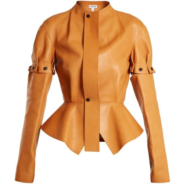 Loewe Engineered-leather peplum jacket ($4,150) ❤ liked on Polyvore featuring outerwear, jackets, coats & jackets, leather, loewe, tan, collarless jacket, collarless leather jackets, real leather jackets and a line leather jacket