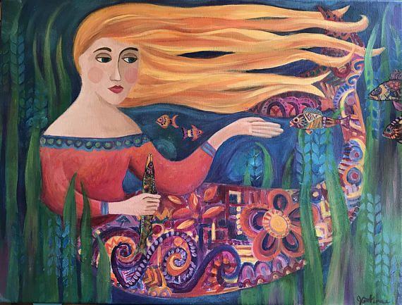 Mermaid painting acrylics, mermaid illustration, folk art mermaid,