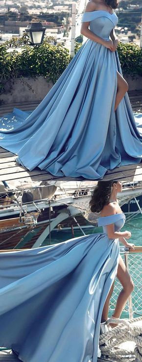 Sexy prom dress,light blue satin prom dress,off shoulder long prom dress,blue evening dress