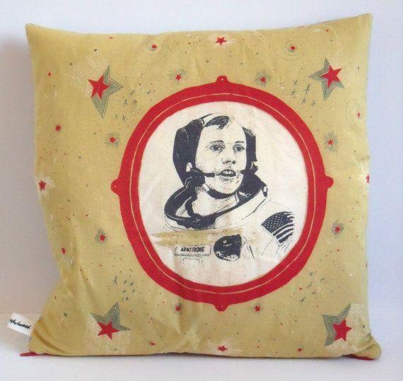 Neil Armstrong Cosmonaut Cushion Pillow: Caitlinhinshelwood, Armstrong Pillow, Neil Armstrong, Armstrong Cosmonaut, Cosmonaut Cushion, Portrait Cushions, Caitlin Hinshelwood