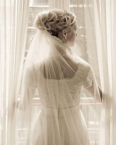 bridal updo with veil underneath - Google Search