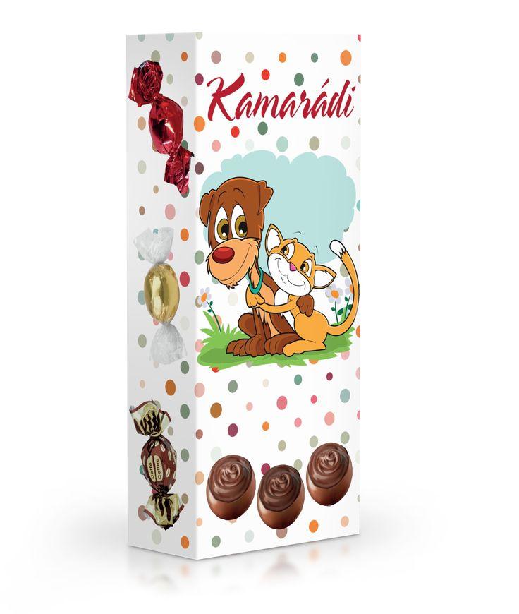 Čokoládové plněné pralinky v dárkové krabičce pro kamarády.