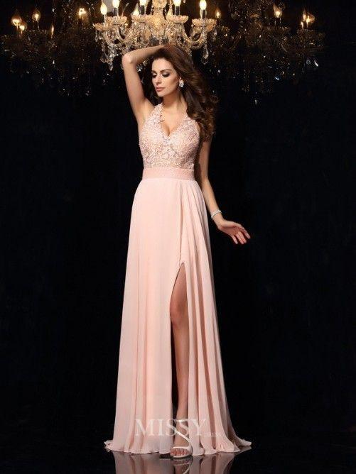 A-Line/Princess Halter Sleeveless Lace Sweep/Brush Train Chiffon Prom/Evening…