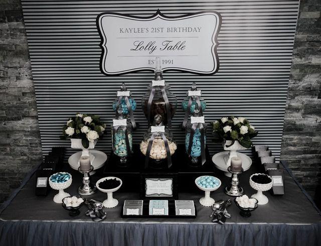 Dessert Table at an Elegant Birthday Party #dessert #party