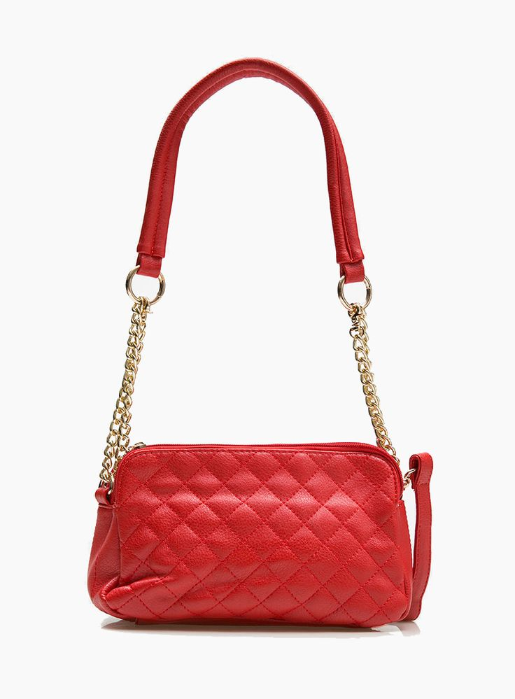 Abranio Clutch by Voila. Abranio Simple clutch bag that is made from golden color quilted materials. Quilted red bag with gold chain strap, combintaion of red and gold color that make this bag stand out, suitable for any occasion.%0A%0A http://www.zocko.com/z/JG0gn